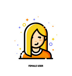 female user avatar icon of attractive girl face vector image
