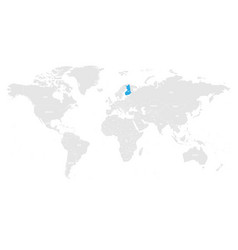 Finland marked blue in grey world political map vector