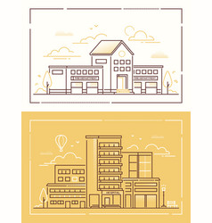 Fire department and hospital - set of line design vector