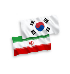 Flags south korea and iran on a white vector