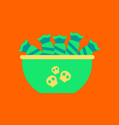 Flat icon on background of halloween candy vector