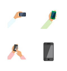 flat icon phone set of interactive display keep vector image