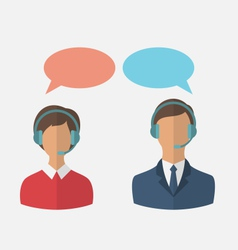 Flat icons of call center operators with man and vector