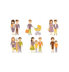 flat set family portraits parents vector image
