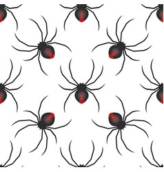 flat style seamless pattern with spider vector image