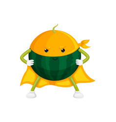 Flat watermelon character in cape mask vector