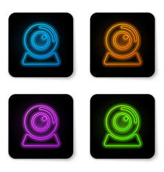 glowing neon web camera icon isolated on white vector image