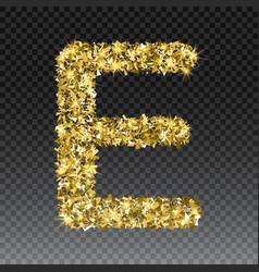 Gold glittering letter e shining golden vector