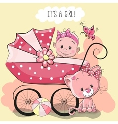 Greeting card its a girl vector