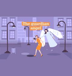 Guardian angel flat composition vector