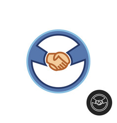 Hands with car steering wheel car deal logo vector