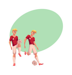 Handsome blond soccer player in uniform standing vector