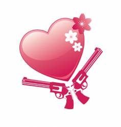 heart and revolver vector image