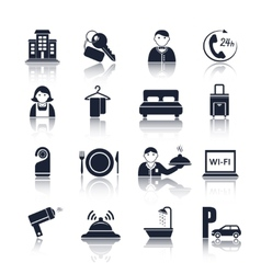 Hotel travel pictograms set vector image