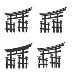 japan gate torii silhouette set vector image