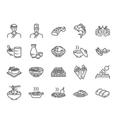 japanese food line icon set 2 vector image