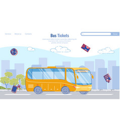 large selection routes bus tickets cartoon vector image