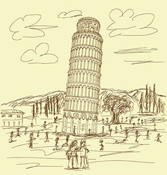 Leaning tower of pisa vintage vector