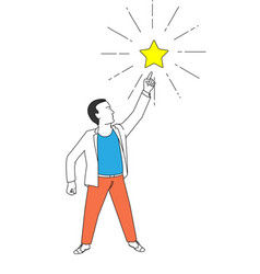 man action point finger to the star vector image