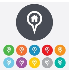 Map pointer house sign icon marker symbol vector