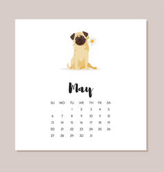 May dog 2018 year calendar vector