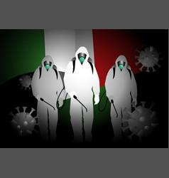 Men in hazmat suits carrying disinfectant sprays vector