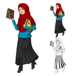 Muslim woman fashion wearing red veil or scarf vector