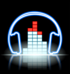 Neon icon musical equalizer and headphones vector
