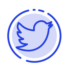 Network social twitter blue dotted line line icon vector