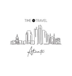 One continuous line drawing atlanta city vector
