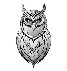 Owl tattoo shape on white vector