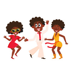 people men and women dancing at retro disco vector image