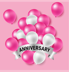pink and white party balloons for anniversary vector image