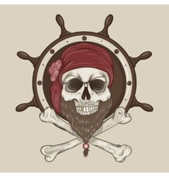 Pirate Skull with a beard vector image