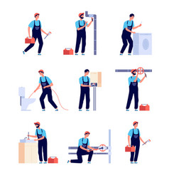 plumbers fixing plumbing house heating equipment vector image