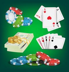 Poker design elements money stacks chips vector