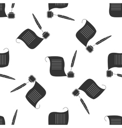 Quill Pen with inkwell and paper scroll vector