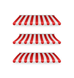 realistic set striped red and white awnings vector image
