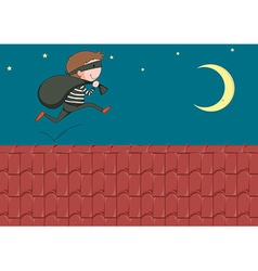robber with bag running on roof vector image