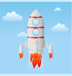 rocket flying in the sky colored cartoon drawing vector image