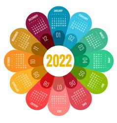 Round calendar planner for 2022 calendar template vector