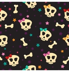 Seamless with bones and skull glamorous vector