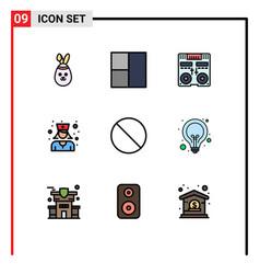 Set 9 filledline flat colors on grid for idea vector
