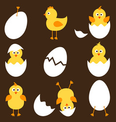 set cartoon chickens vector image