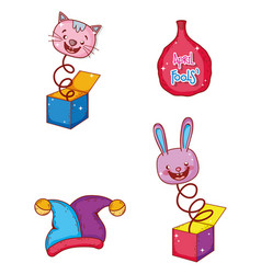Set cat and rabbit box with whoopee bag humor vector