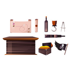 set icons pirate ship equipment vector image