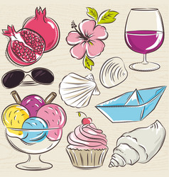 Set of summer symbols clams shells ice cream vector