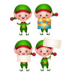 set xmas an elf or leprechaun vector image