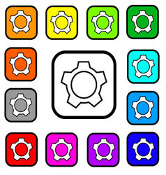 Settings Button Square Icon vector