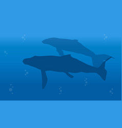 Silhouette of big whale landscape vector